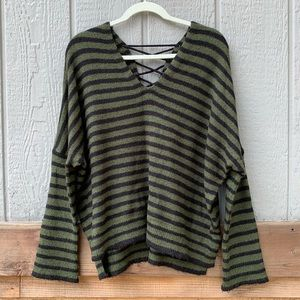 a.n.a green & black striped lace up v-neck sweater